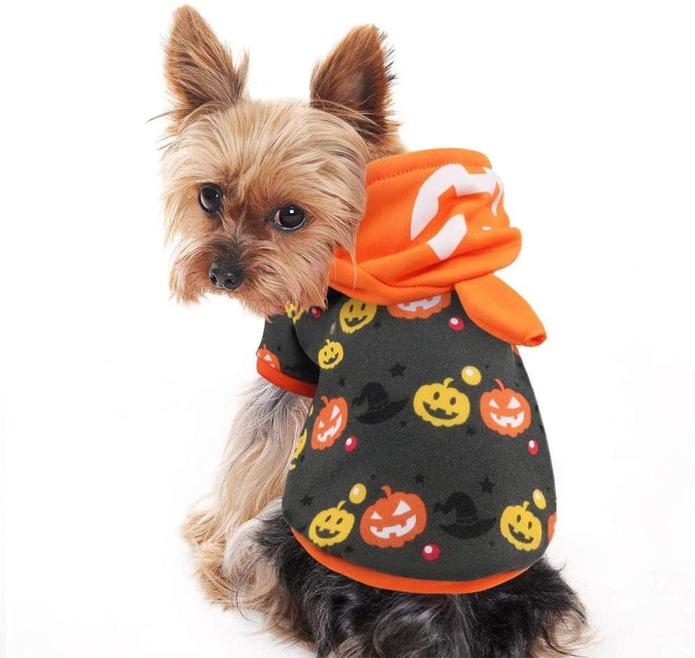 A dog wearing a simple Hoodie Warm Outfits Clothes for Halloween