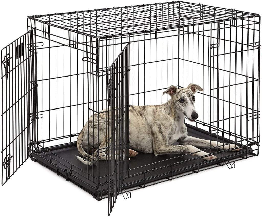 How to Crate Train a Puppy? A metal collapsible crate