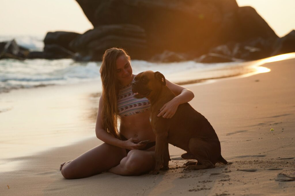 Tips to Cool Your Dog This Summer A Girl hugging her dog in the beach side